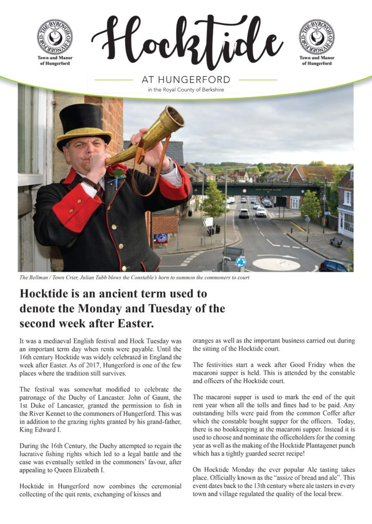 Town and Manor of Hungerford's annual Hocktide, an ancient tradition still celebrated today