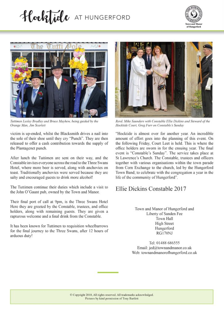 Page four of Town and Manor of Hungerford's annual Hocktide, an ancient tradition still celebrated today