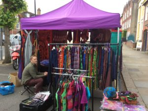 Colourful clothing stall at Hungerford Wednesday market