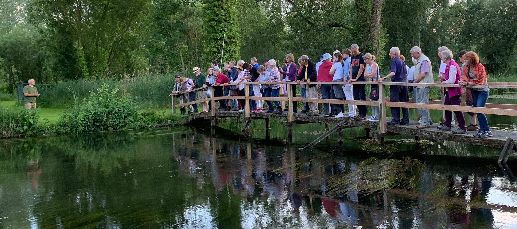 Rob Starr giving a nature talk beside the River Kennet